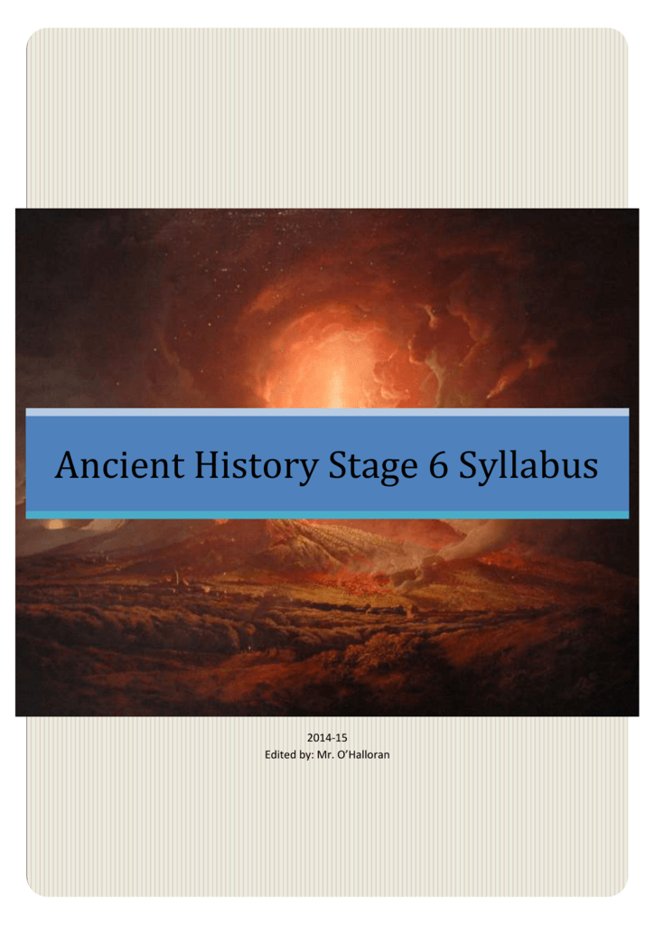 Ancient History Stage 6 Syllabus