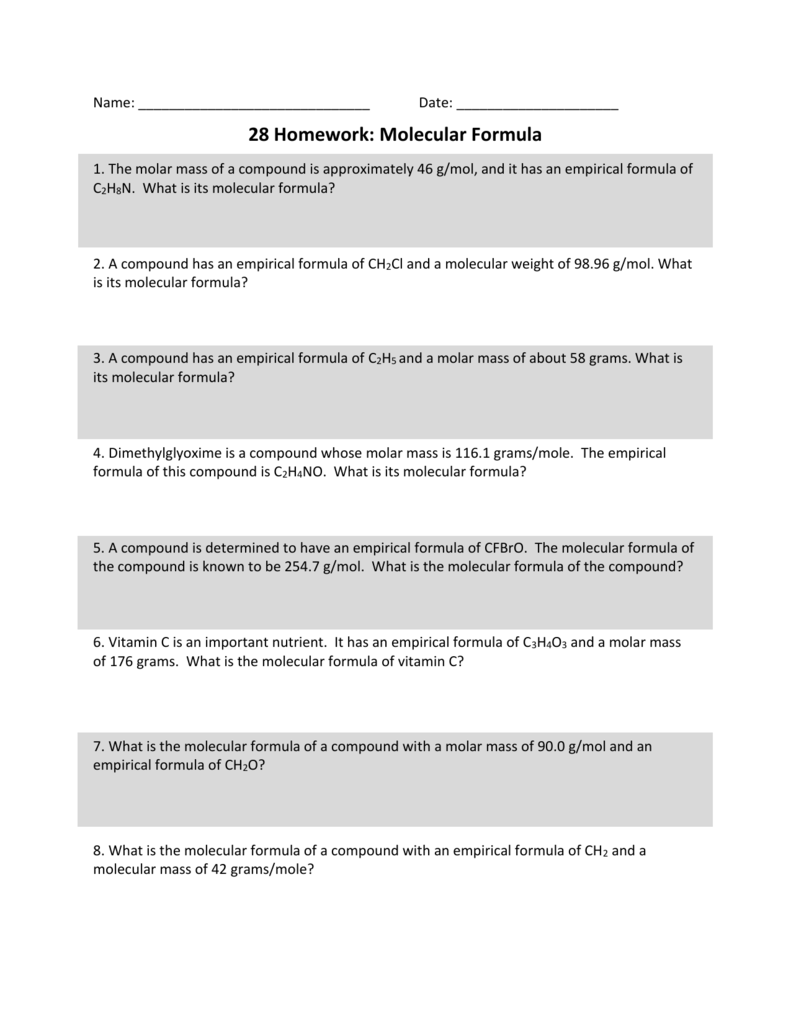 worksheet Empirical Formulas Worksheet 28 homework molecular formula