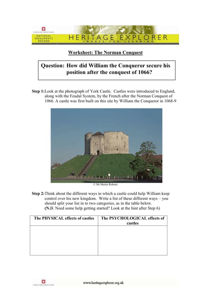 Printable Worksheets feudalism worksheets : Worksheet: Medieval Life - Norman Conquest