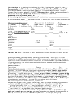 2000 Entry Form-F for the Southeast District Science Day (DSD) and