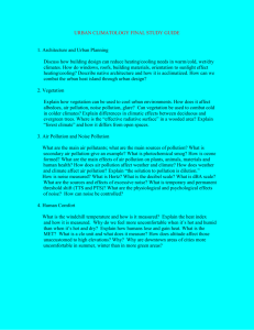 URBAN CLIMATOLOGY FINAL STUDY GUIDE