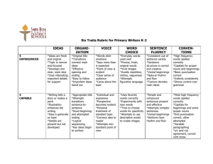 Six Traits Rubric for Primary Writers