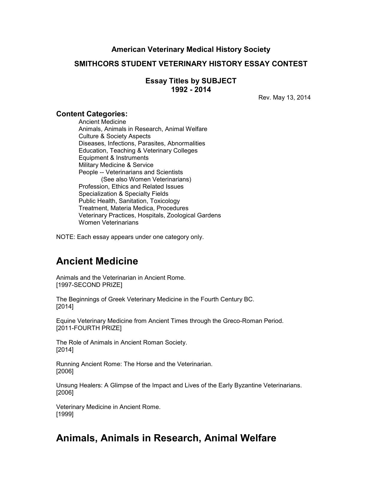 American Veterinary Medical History Society