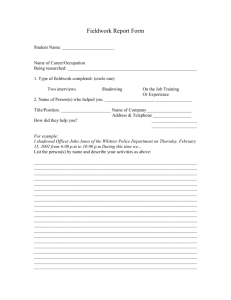 Fieldwork Report Form