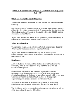Mental Health Difficulties: A Guide to the Equality Act (EA)