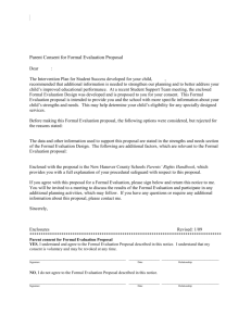 Parent Consent for Formal Evaluation Proposal