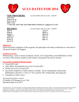 2016 ACLS Class Schedule - Clark Memorial Hospital