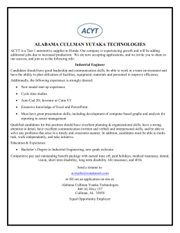 Industrial Engineer - Cullman Career Opportunities