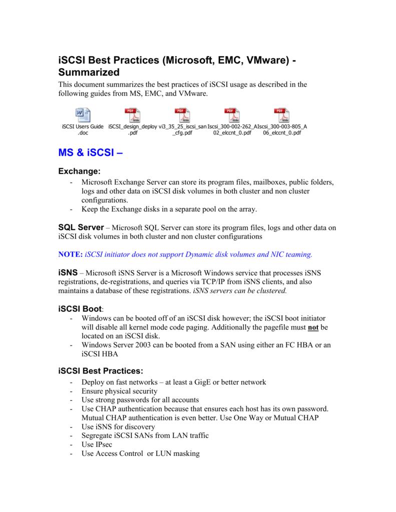 Microsoft iSCSI Initiator and iSCSI Best Practices