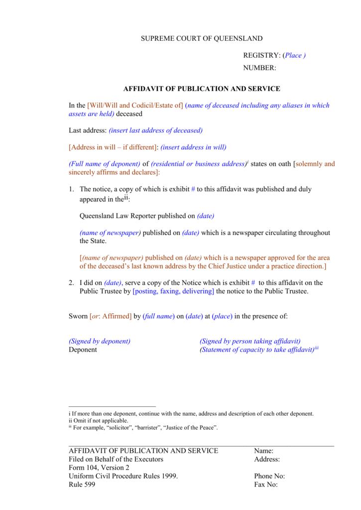 Form 104 - Queensland Courts