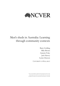 Mens Sheds - National Centre for Vocational Education Research