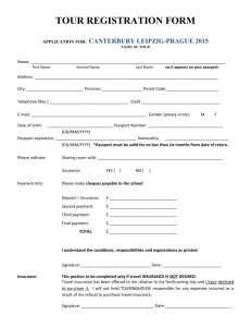 Tour Registration Form - Canterbury Leipzig-Prague