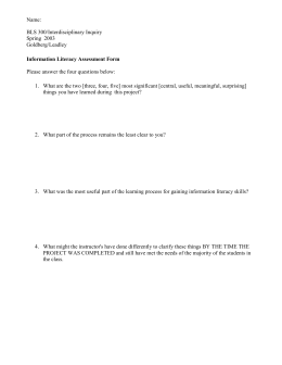 Information Literacy Assessment Form