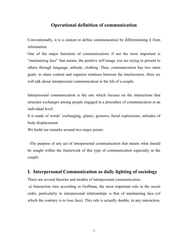 operational definition of communication