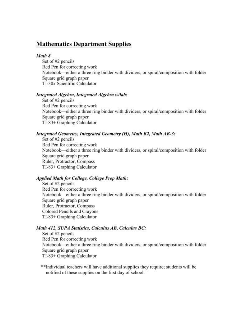 Mathematics Supplies List