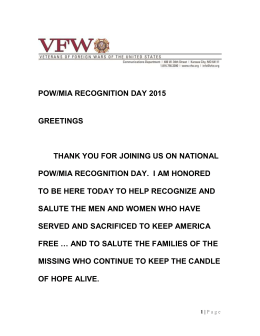 POW/MIA Recognition day 2015 GREETINGS THANK YOU FOR