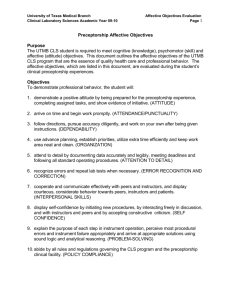 Clinical Preceptorship Affective Objectives and Checklist