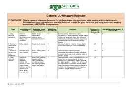 Generic VUW Hazard Register PLEASE NOTE: This is a general