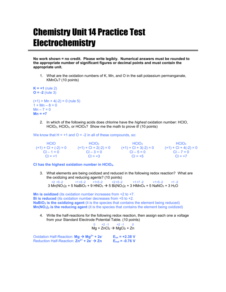 Chemistry Unit 14 Practice Test