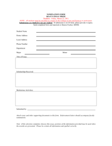 Dean`s Essay Prize Nomination Form 2011