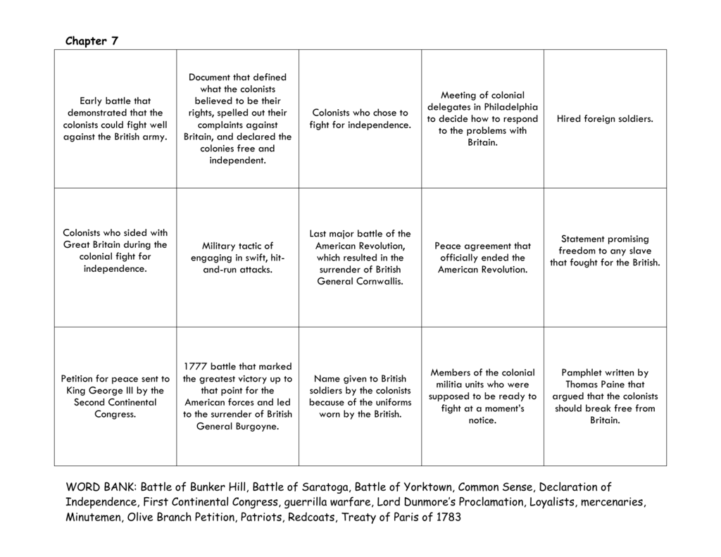 Vocabulary Worksheet 7