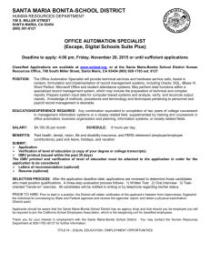 Office Automation Specialist-Deadline to apply - Santa Maria