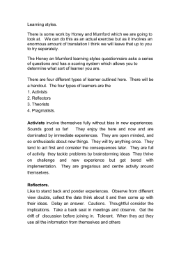 free honey and mumford learning styles questionnaire Learning style questionnaire the modality (learning channel preference) questionnaire reproduced here is by o'brien (1985) to complete, read each sentence carefully and consider if it applies to you.