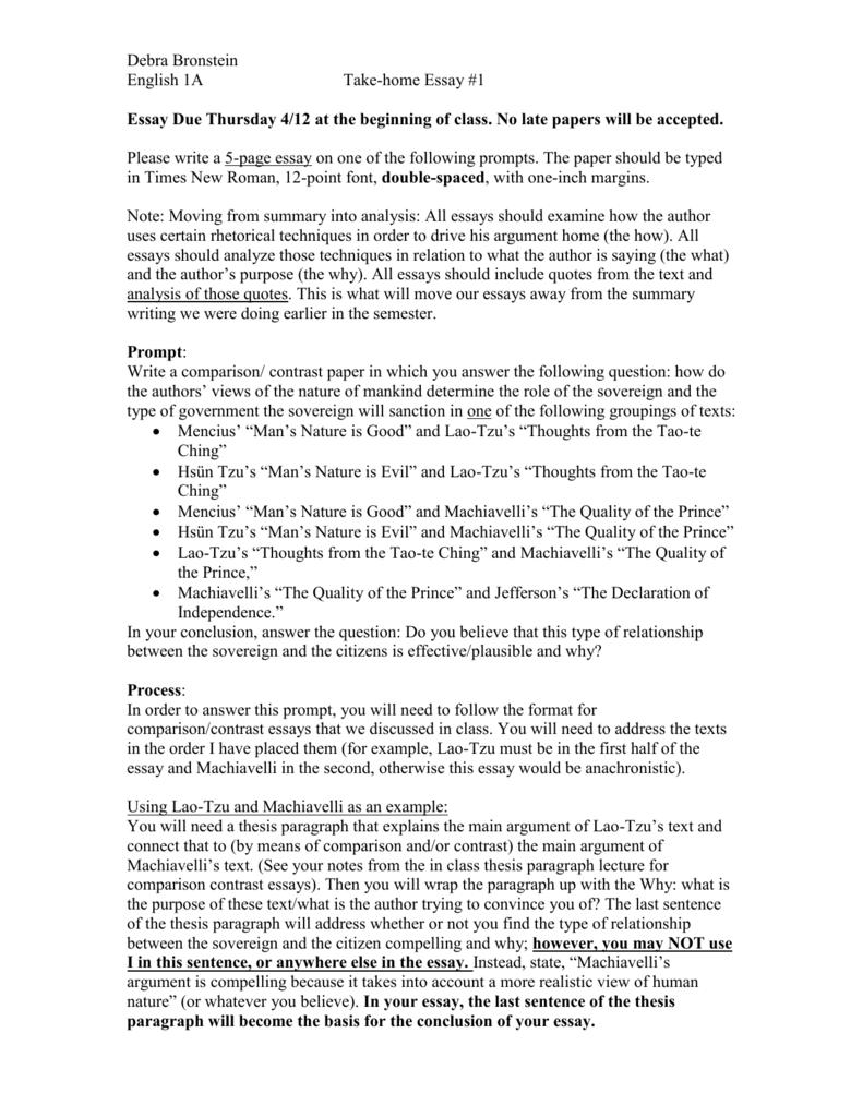 machiavelli vs lao tzu essay