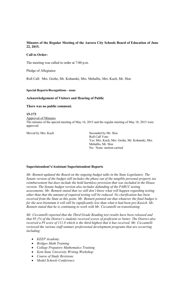 Minutes of Special Meeting of the Aurora City Schools Board of