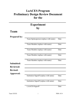 The PDR Document
