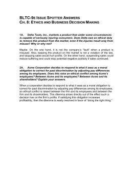 BLTC-9e Issue Spotter Answers Ch. 8: Ethics and Business