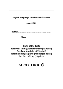 English Language Test for the 8th Grade June 2011 Name