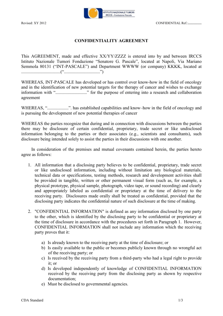 CONFIDENTIALITY AGREEMENT - Istituto Nazionale Tumori