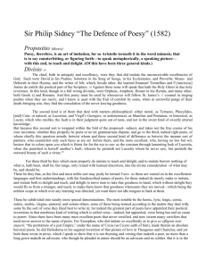 "Sir Philip Sidney ""The Defence of Poesy"""