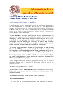 2nd International Course Care and use of laboratory animals