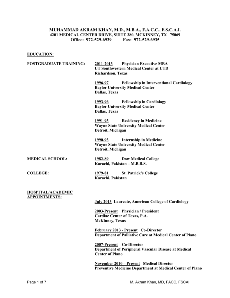 to Dr Khan`s CV - North Dallas Research Associates