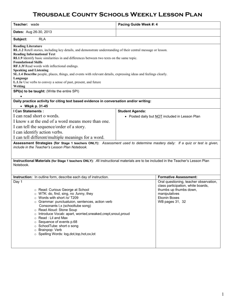 Lesson Plan Template - Trousdale County Schools