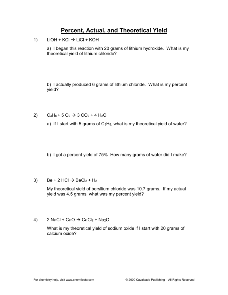 Uncategorized Percent Actual And Theoretical Yield Worksheet percent actual and theoretical yield
