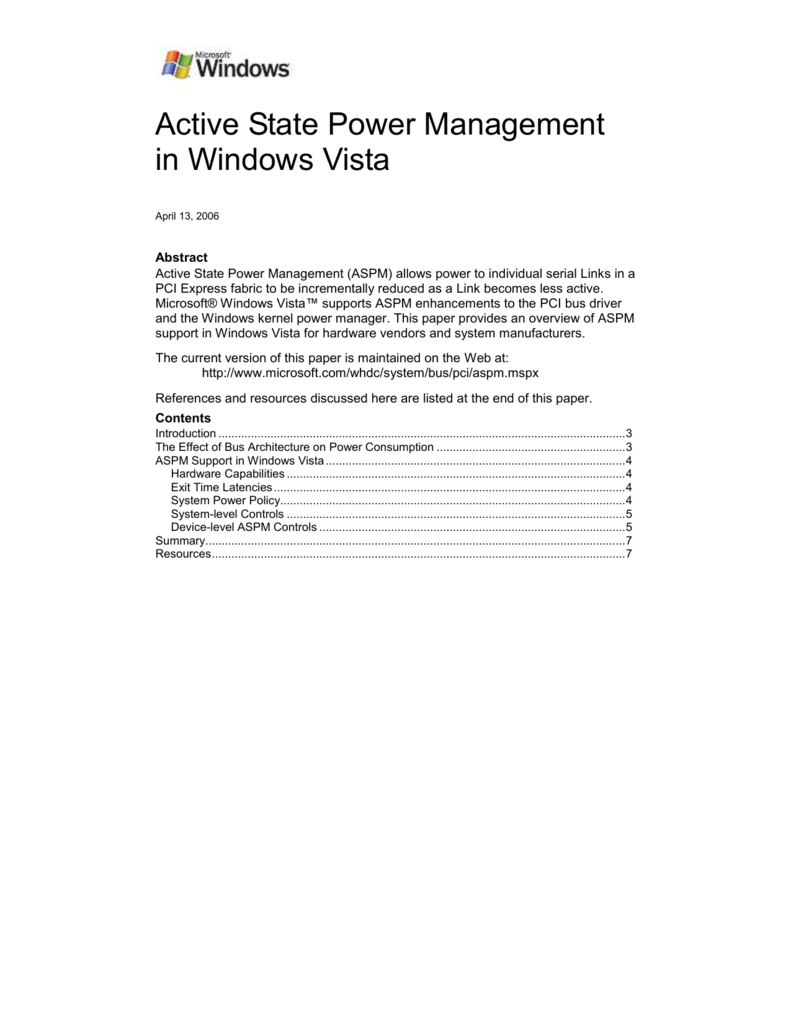 Active State Power Management In Windows Vista