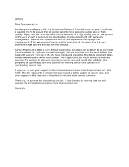 sample letter in support of comprehensive cancer care improvement