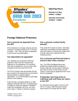Foreign National Prisoners - Offenders families helpline