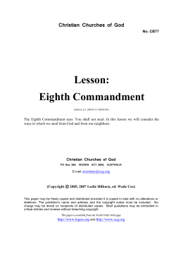 Lesson: Eighth Commandment (No. CB77)