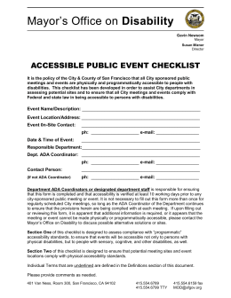 Accessible Public Event Checklist