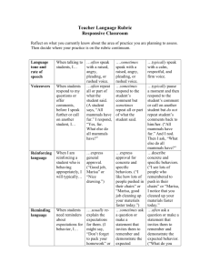 Teacher Language rubric