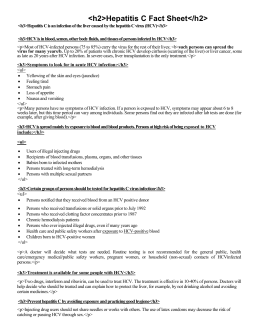 Hepatitis C Fact Sheet - Cecil County Health Department