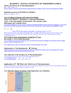 HANDOUT: INITIAL OVERVIEW OF THERMODYNAMICS