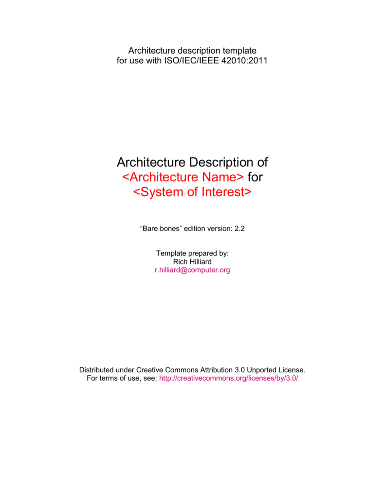 Architecture Description Template For Use With Isoiecieee 42010