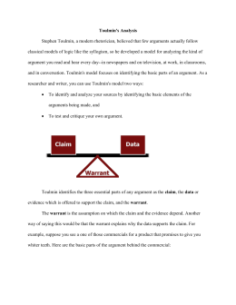Toulmin Argument Structure - Trinity Washington University