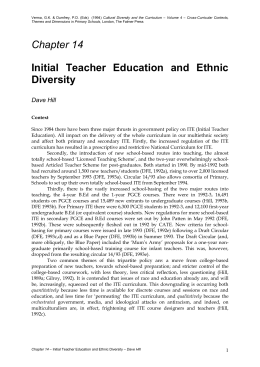 Initial Teacher Education and Ethnic Diversity