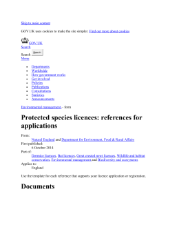 Protected species licences: references for applications